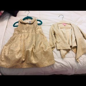 Gold dress and lily cardigan
